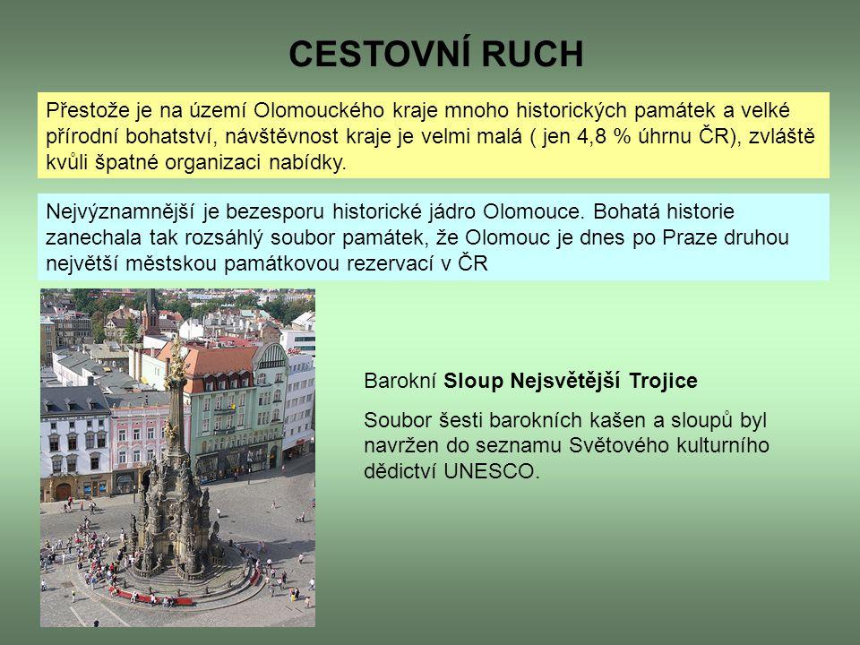 CESTOVNÍ RUCH Přestože je na území Olomouckého kraje mnoho historických památek a velké přírodní bohatství, návštěvnost kraje je velmi malá ( jen 4,8