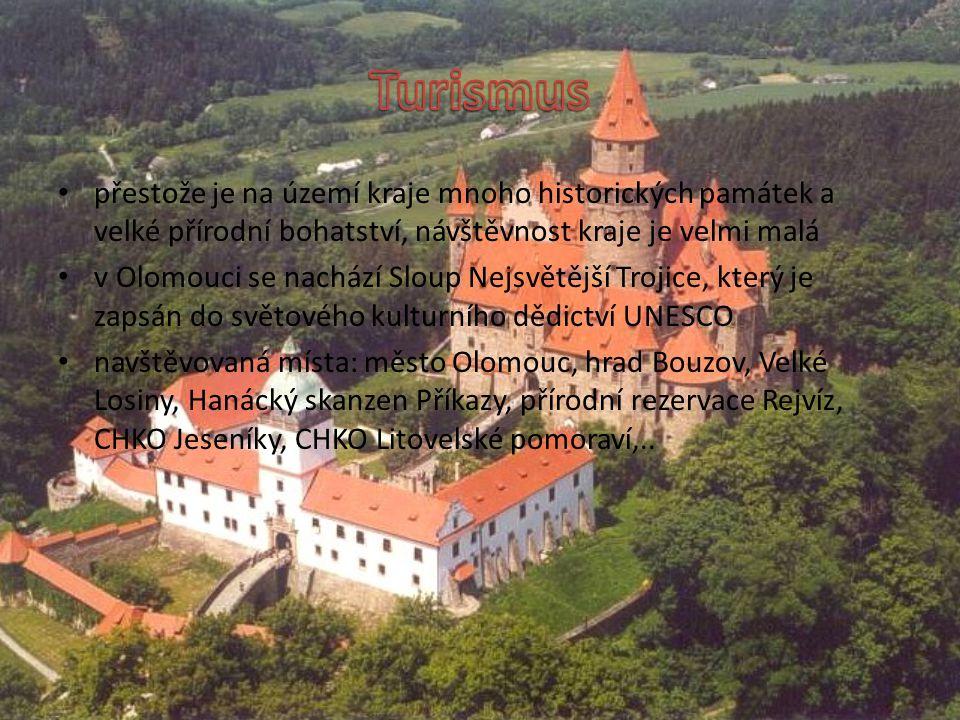 přestože je na území kraje mnoho historických památek a velké přírodní bohatství, návštěvnost kraje je velmi malá v Olomouci se nachází Sloup Nejsvětější Trojice, který je zapsán do světového kulturního dědictví UNESCO navštěvovaná místa: město Olomouc, hrad Bouzov, Velké Losiny, Hanácký skanzen Příkazy, přírodní rezervace Rejvíz, CHKO Jeseníky, CHKO Litovelské pomoraví,..