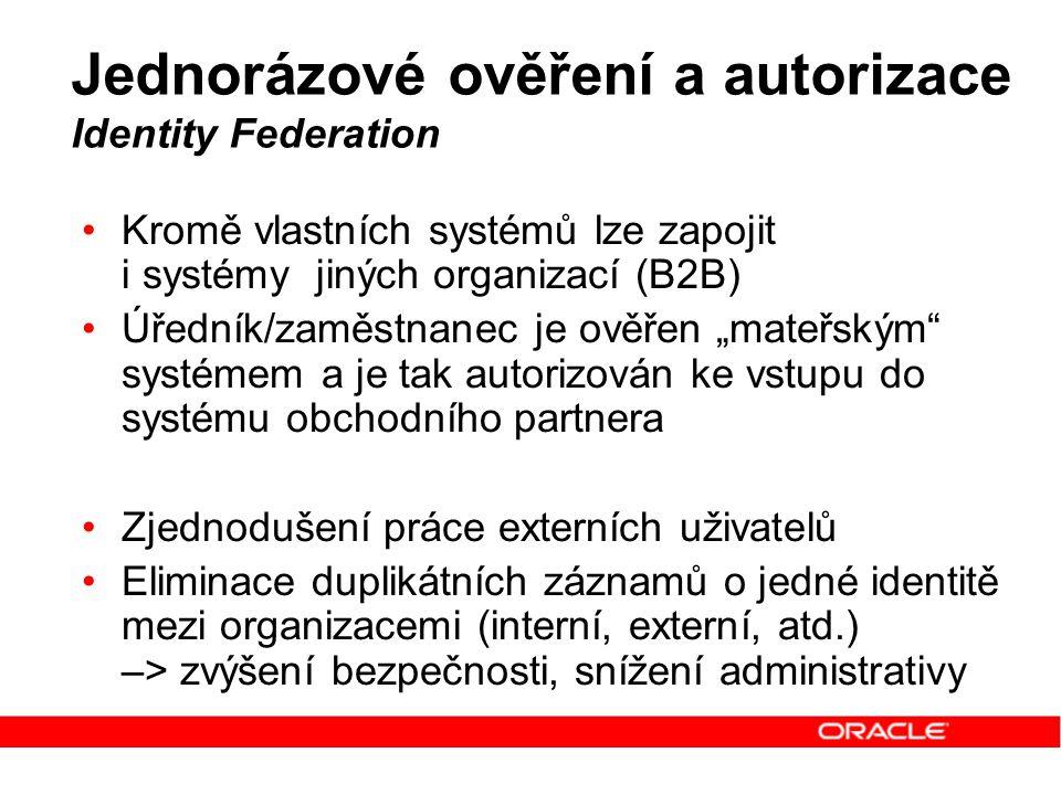Jednorázové ověření a autorizace Identity Federation Kromě vlastních systémů lze zapojit i systémy jiných organizací (B2B) Úředník/zaměstnanec je ověř