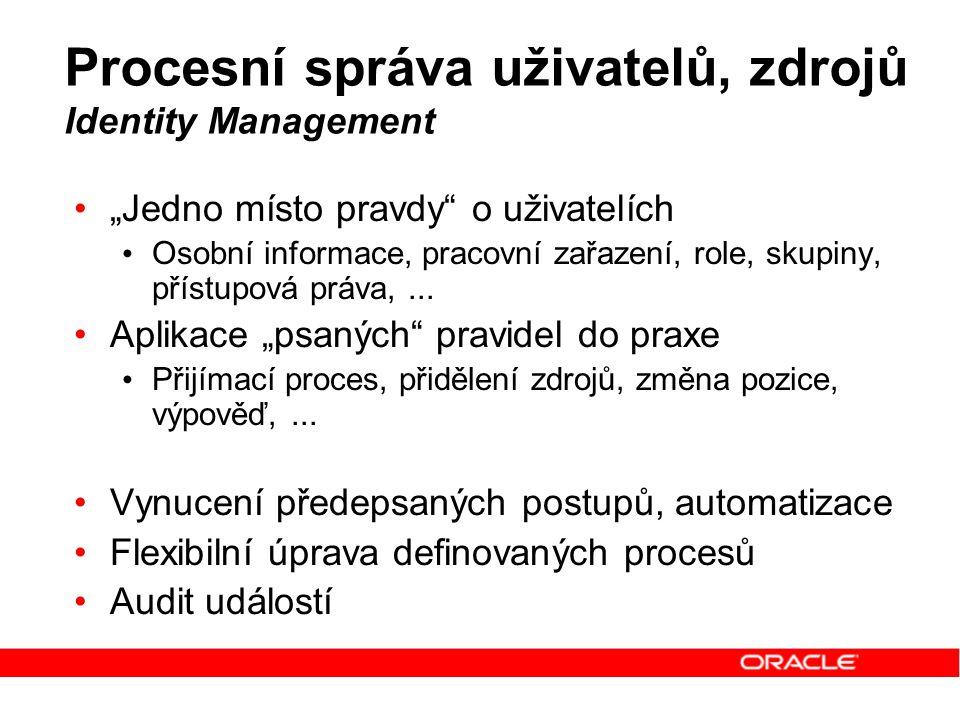 """Procesní správa uživatelů, zdrojů Identity Management """"Jedno místo pravdy"""" o uživatelích Osobní informace, pracovní zařazení, role, skupiny, přístupov"""