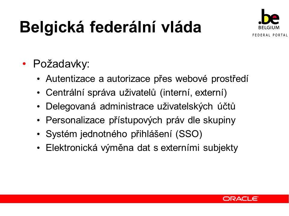 Belgická federální vláda Požadavky: Autentizace a autorizace přes webové prostředí Centrální správa uživatelů (interní, externí) Delegovaná administra