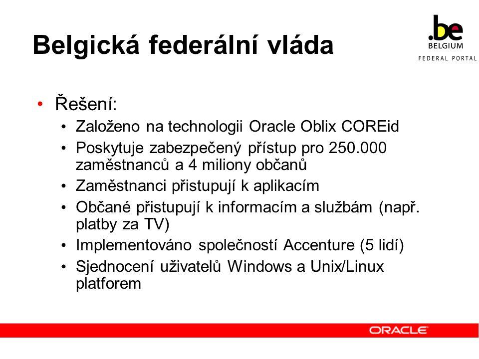 Belgická federální vláda Řešení: Založeno na technologii Oracle Oblix COREid Poskytuje zabezpečený přístup pro 250.000 zaměstnanců a 4 miliony občanů