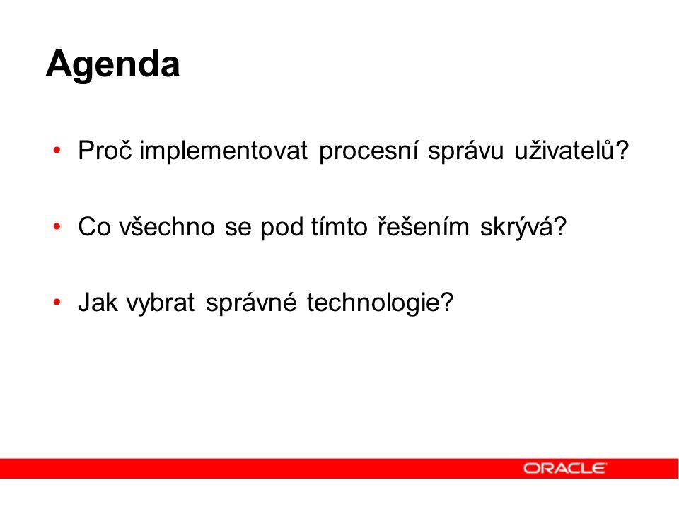 Agenda Proč implementovat procesní správu uživatelů? Co všechno se pod tímto řešením skrývá? Jak vybrat správné technologie?