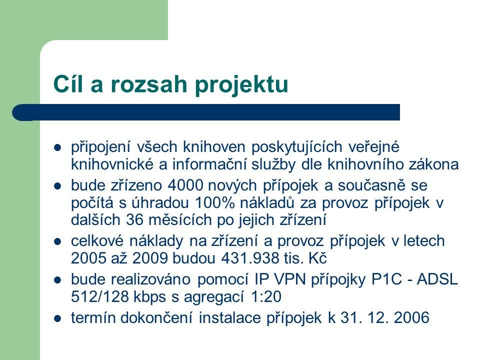 Cíl a rozsah projektu připojení všech knihoven poskytujících veřejné knihovnické a informační služby dle knihovního zákona bude zřízeno 4000 nových přípojek a současně se počítá s úhradou 100% nákladů za provoz přípojek v dalších 36 měsících po jejich zřízení celkové náklady na zřízení a provoz přípojek v letech 2005 až 2009 budou 431.938 tis.