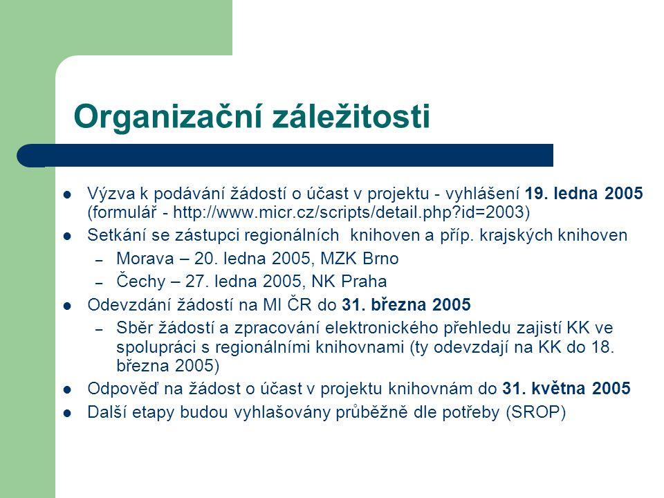 Organizační záležitosti Výzva k podávání žádostí o účast v projektu - vyhlášení 19.