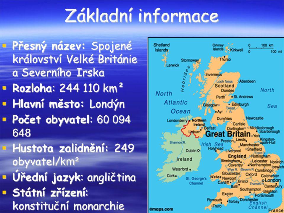 Základní informace  Přesný název: Spojené království Velké Británie a Severního Irska  Rozloha: 244 110 km²  Hlavní město: Londýn  Počet obyvatel: 60 094 648  Hustota zalidnění: 249 obyvatel/ km²  Úřední jazyk: angličtina  Státní zřízení: konstituční monarchie