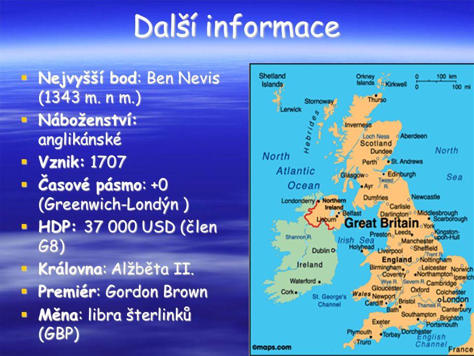 Další informace  Nejvyšší bod: Ben Nevis (1343 m.