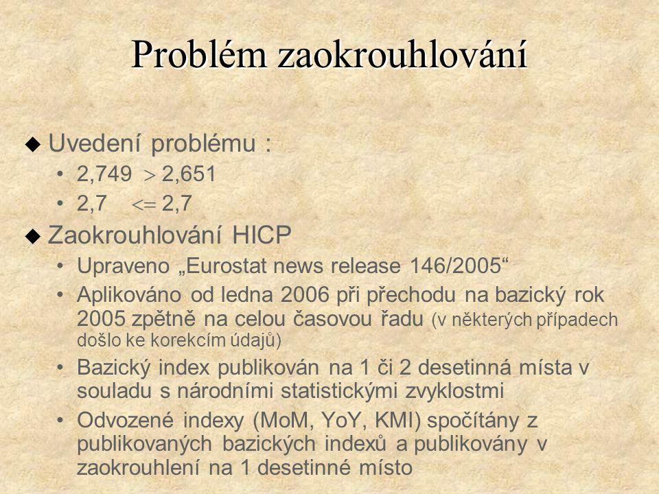 """Problém zaokrouhlování u Uvedení problému : 2,749  2,651 2,7  2,7 u Zaokrouhlování HICP Upraveno """"Eurostat news release 146/2005 Aplikováno od ledna 2006 při přechodu na bazický rok 2005 zpětně na celou časovou řadu (v některých případech došlo ke korekcím údajů) Bazický index publikován na 1 či 2 desetinná místa v souladu s národními statistickými zvyklostmi Odvozené indexy (MoM, YoY, KMI) spočítány z publikovaných bazických indexů a publikovány v zaokrouhlení na 1 desetinné místo"""