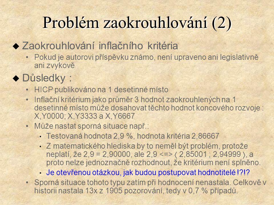 Problém zaokrouhlování (2) u Zaokrouhlování inflačního kritéria Pokud je autorovi příspěvku známo, není upraveno ani legislativně ani zvykově u Důsledky : HICP publikováno na 1 desetinné místo Inflační kritérium jako průměr 3 hodnot zaokrouhlených na 1 desetinné místo může dosahovat těchto hodnot koncového rozvoje : X,Y0000; X,Y3333 a X,Y6667 Může nastat sporná situace např.: Testovaná hodnota 2,9 %, hodnota kritéria 2,86667 Z matematického hlediska by to neměl být problém, protože neplatí, že 2,9 = 2,90000, ale 2,9  2,85001 ; 2,94999 , a proto nelze jednoznačně rozhodnout, že kritérium není splněno.