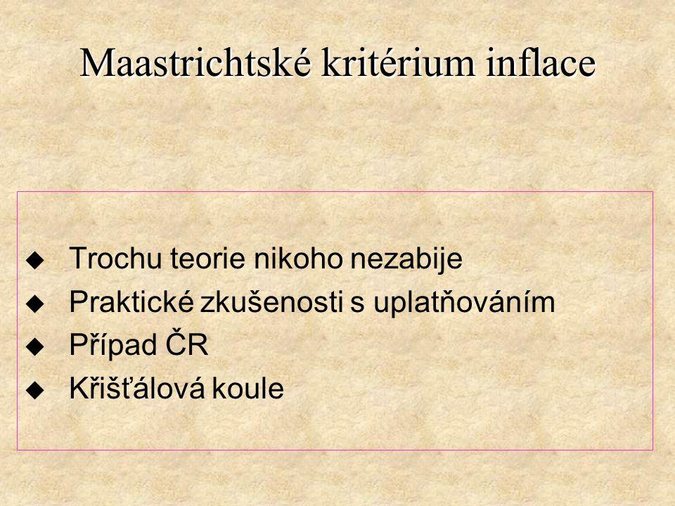 Maastrichtské kritérium inflace u Trochu teorie nikoho nezabije u Praktické zkušenosti s uplatňováním u Případ ČR u Křišťálová koule