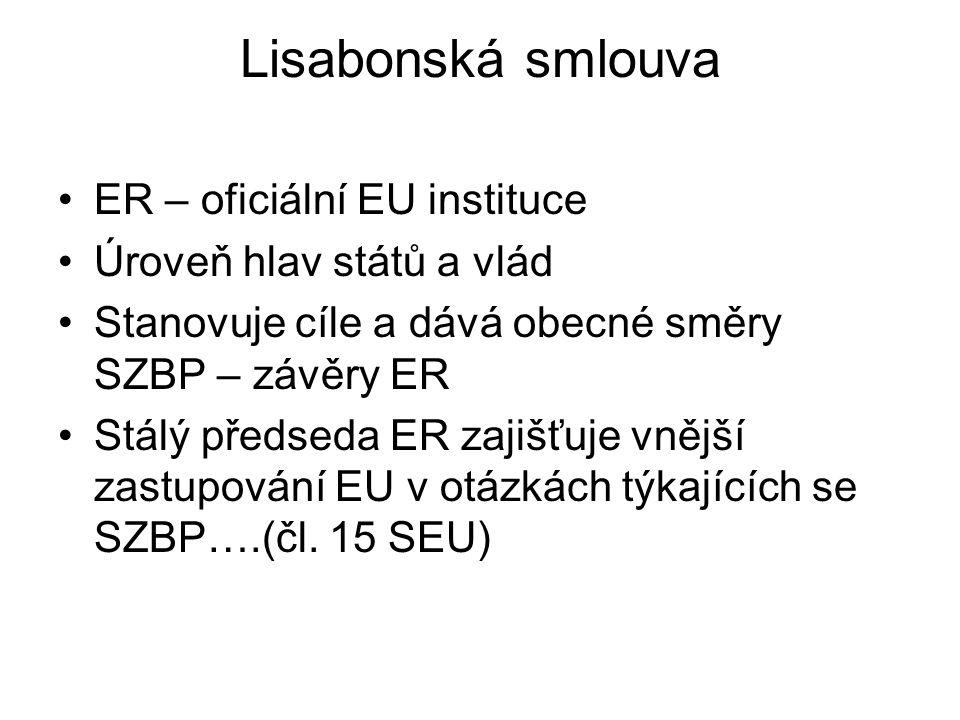 Lisabonská smlouva ER – oficiální EU instituce Úroveň hlav států a vlád Stanovuje cíle a dává obecné směry SZBP – závěry ER Stálý předseda ER zajišťuj