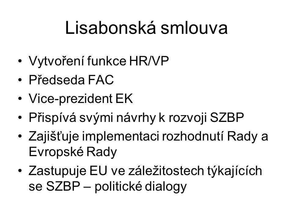 Lisabonská smlouva Vytvoření funkce HR/VP Předseda FAC Vice-prezident EK Přispívá svými návrhy k rozvoji SZBP Zajišťuje implementaci rozhodnutí Rady a