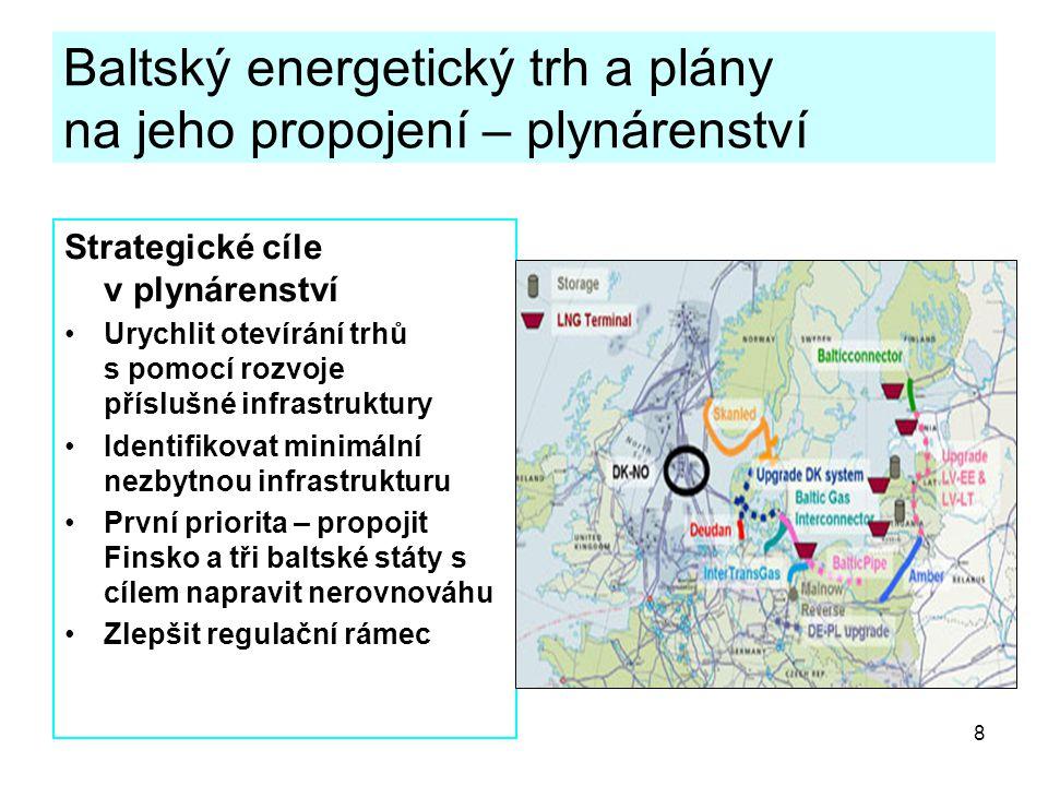 8 Baltský energetický trh a plány na jeho propojení – plynárenství Strategické cíle v plynárenství Urychlit otevírání trhů s pomocí rozvoje příslušné infrastruktury Identifikovat minimální nezbytnou infrastrukturu První priorita – propojit Finsko a tři baltské státy s cílem napravit nerovnováhu Zlepšit regulační rámec
