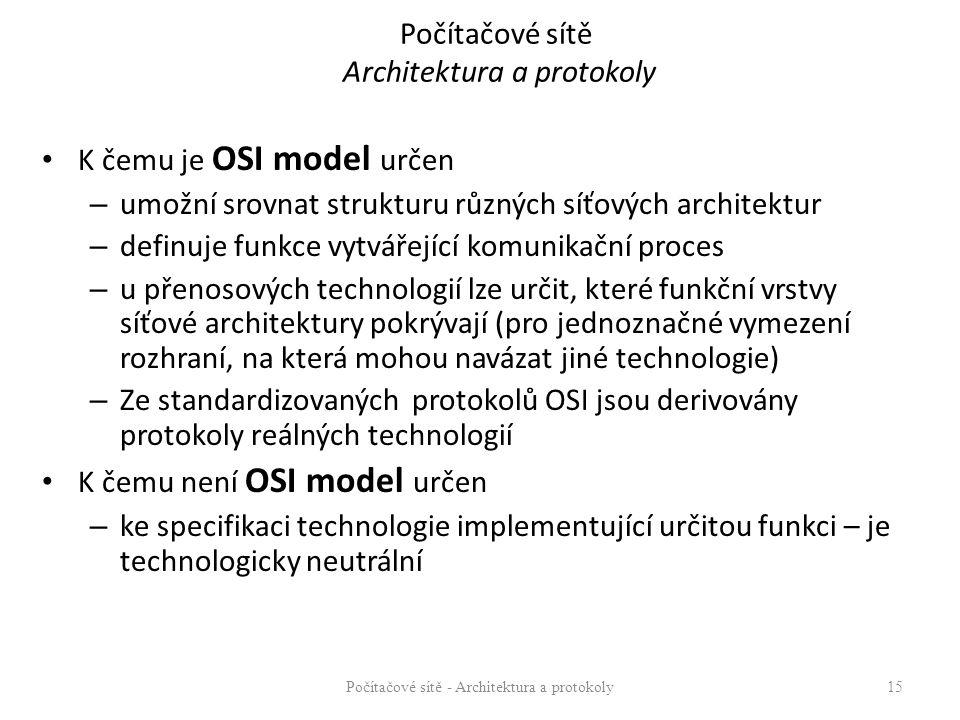 Počítačové sítě Architektura a protokoly K čemu je OSI model určen – umožní srovnat strukturu různých síťových architektur – definuje funkce vytvářející komunikační proces – u přenosových technologií lze určit, které funkční vrstvy síťové architektury pokrývají (pro jednoznačné vymezení rozhraní, na která mohou navázat jiné technologie) – Ze standardizovaných protokolů OSI jsou derivovány protokoly reálných technologií K čemu není OSI model určen – ke specifikaci technologie implementující určitou funkci – je technologicky neutrální Počítačové sítě - Architektura a protokoly15