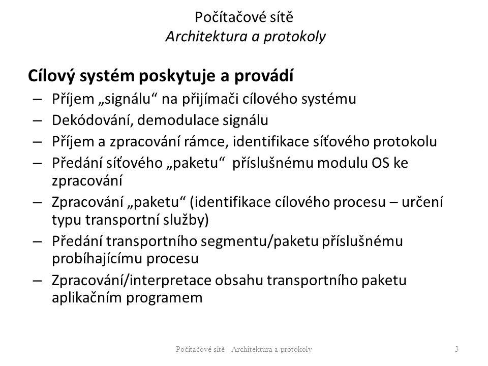 """Cílový systém poskytuje a provádí – Příjem """"signálu na přijímači cílového systému – Dekódování, demodulace signálu – Příjem a zpracování rámce, identifikace síťového protokolu – Předání síťového """"paketu příslušnému modulu OS ke zpracování – Zpracování """"paketu (identifikace cílového procesu – určení typu transportní služby) – Předání transportního segmentu/paketu příslušnému probíhajícímu procesu – Zpracování/interpretace obsahu transportního paketu aplikačním programem Počítačové sítě - Architektura a protokoly3"""