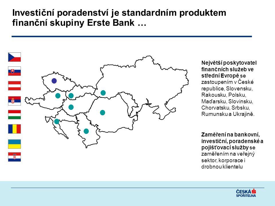 Investiční poradenství je standardním produktem finanční skupiny Erste Bank … Největší poskytovatel finančních služeb ve střední Evropě se zastoupením v České republice, Slovensku, Rakousku, Polsku, Maďarsku, Slovinsku, Chorvatsku, Srbsku, Rumunsku a Ukrajině.