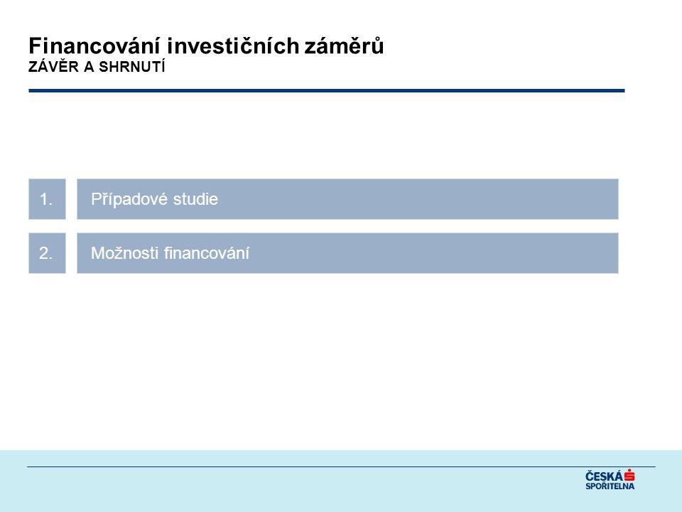 Případové studie1. Možnosti financování2. Financování investičních záměrů ZÁVĚR A SHRNUTÍ