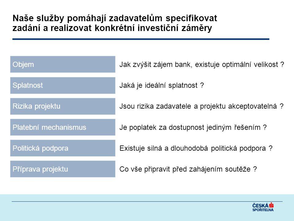 Objem Splatnost Rizika projektu Platební mechanismus Politická podpora Jak zvýšit zájem bank, existuje optimální velikost .
