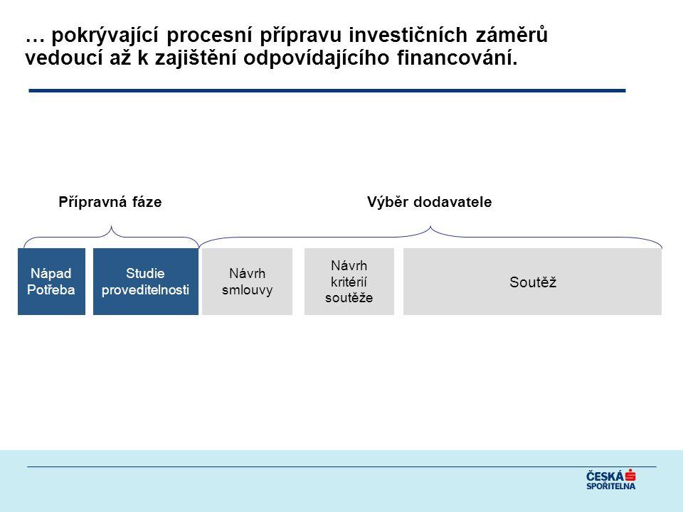 … pokrývající procesní přípravu investičních záměrů vedoucí až k zajištění odpovídajícího financování.