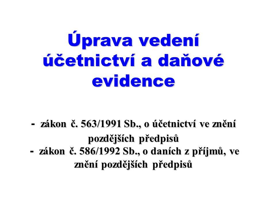 Zákonem o účetnictví je vymezeno: účetnictví podle Mezinárodních účetních standardů upravených právem Evropských společenství, účetnictví v plném rozsahu, Zákonem o dani z příjmů je vymezena: daňová evidence.