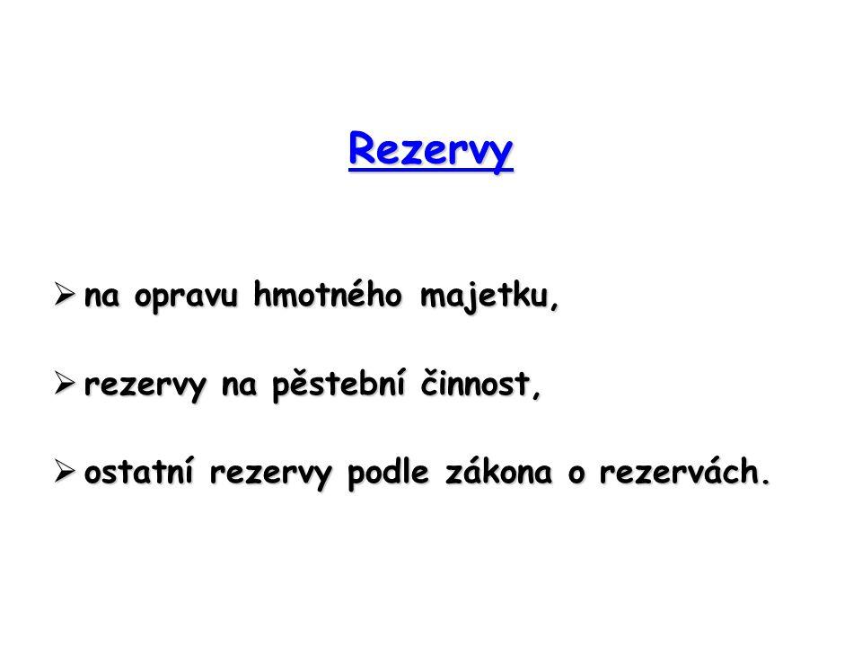 Rezervy  na opravu hmotného majetku,  rezervy na pěstební činnost,  ostatní rezervy podle zákona o rezervách.