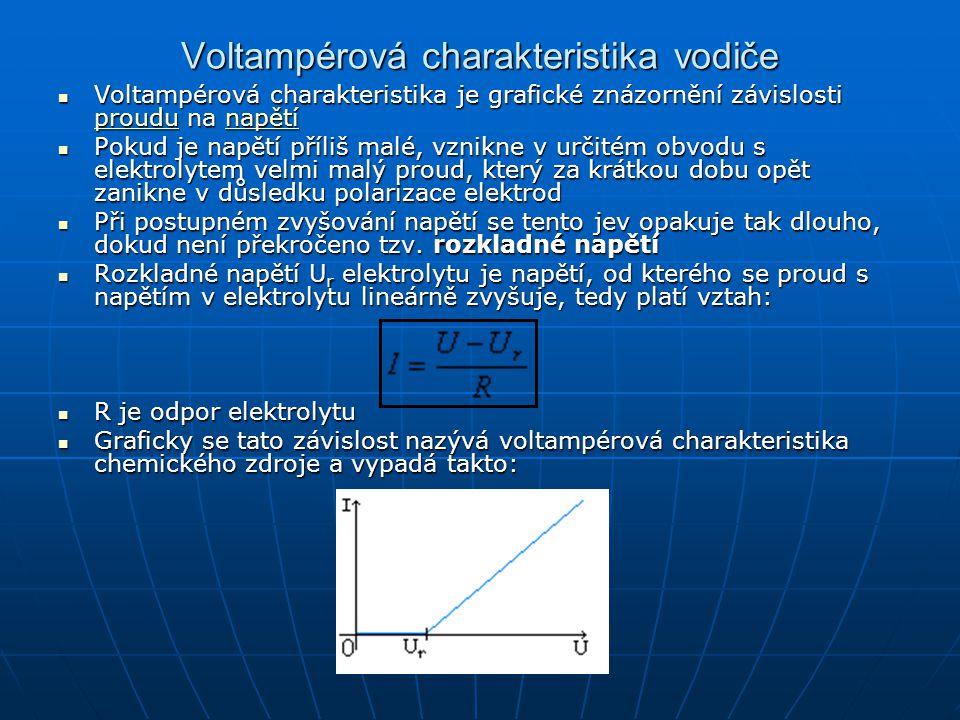 Voltampérová charakteristika vodiče Voltampérová charakteristika je grafické znázornění závislosti proudu na napětí Voltampérová charakteristika je gr