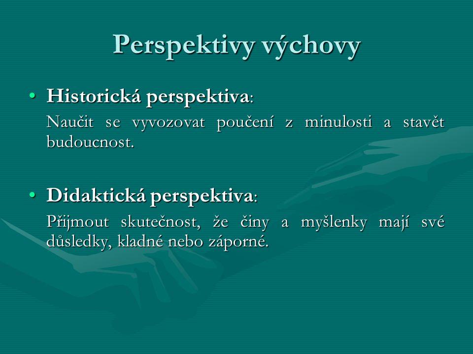 Perspektivy výchovy Historická perspektiva :Historická perspektiva : Naučit se vyvozovat poučení z minulosti a stavět budoucnost. Didaktická perspekti