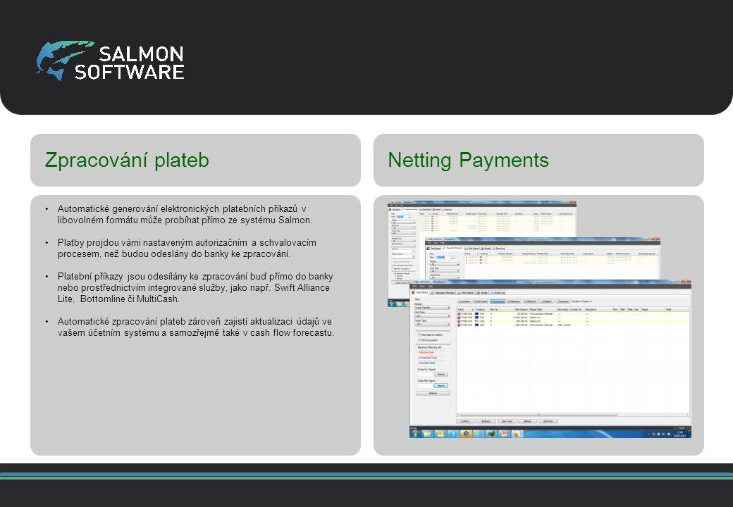 Zpracování platebNetting Payments Automatické generování elektronických platebních příkazů v libovolném formátu může probíhat přímo ze systému Salmon.