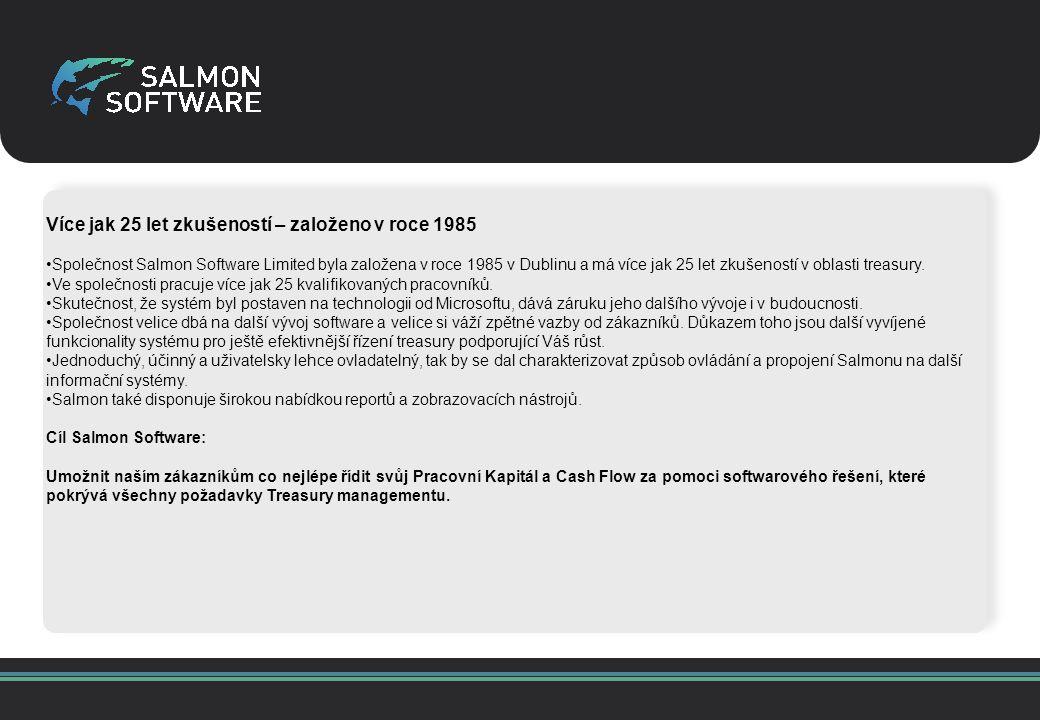 Více jak 25 let zkušeností – založeno v roce 1985 Společnost Salmon Software Limited byla založena v roce 1985 v Dublinu a má více jak 25 let zkušeností v oblasti treasury.