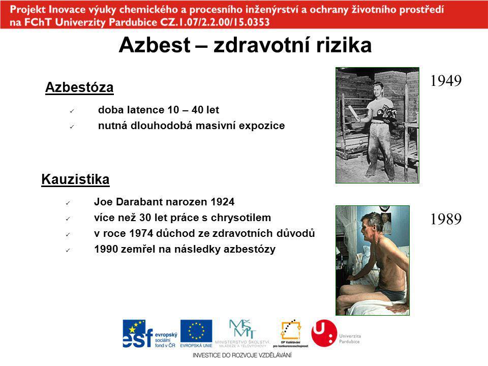 Azbest – zdravotní rizika Azbestóza doba latence 10 – 40 let nutná dlouhodobá masivní expozice Kauzistika Joe Darabant narozen 1924 více než 30 let pr