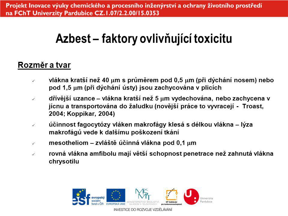 Azbest – faktory ovlivňující toxicitu Rozměr a tvar vlákna kratší než 40  m s průměrem pod 0,5  m (při dýchání nosem) nebo pod 1,5  m (při dýchání