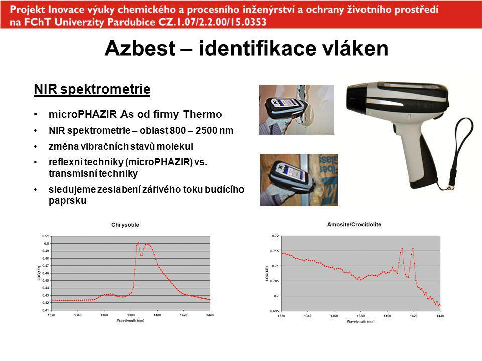 Azbest – identifikace vláken NIR spektrometrie microPHAZIR As od firmy Thermo NIR spektrometrie – oblast 800 – 2500 nm změna vibračních stavů molekul