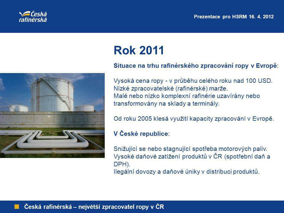 Česká rafinérská – největší zpracovatel ropy v ČR Rok 2011 Situace na trhu rafinérského zpracování ropy v Evropě: Vysoká cena ropy - v průběhu celého