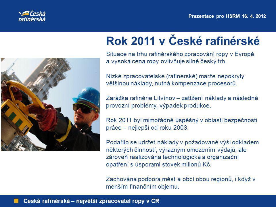 Česká rafinérská – největší zpracovatel ropy v ČR Rok 2011 v České rafinérské Situace na trhu rafinérského zpracování ropy v Evropě, a vysoká cena rop