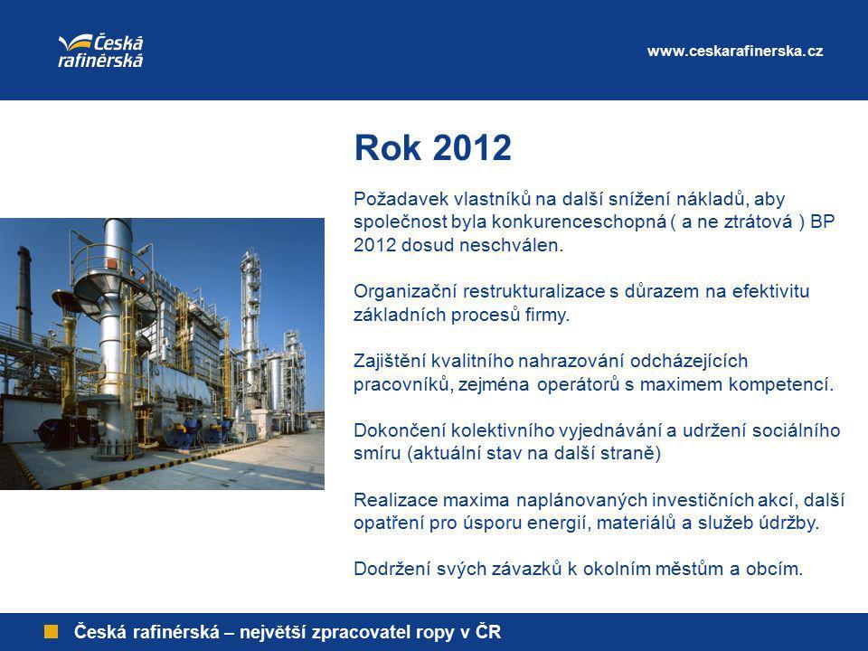 www.ceskarafinerska.cz Česká rafinérská – největší zpracovatel ropy v ČR Rok 2012 Požadavek vlastníků na další snížení nákladů, aby společnost byla ko
