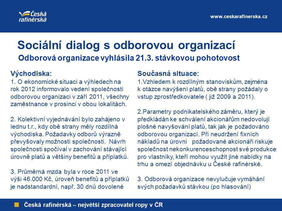 www.ceskarafinerska.cz Česká rafinérská – největší zpracovatel ropy v ČR Současná situace: 1.Vzhledem k rozdílným stanoviskům, zejména k otázce navýše
