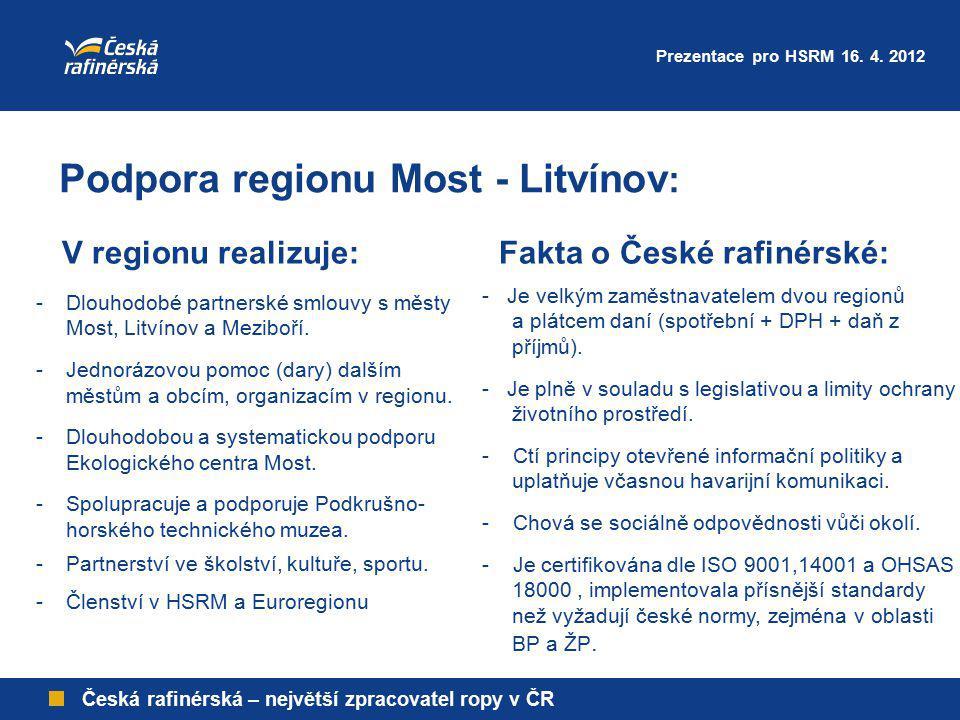 Česká rafinérská – největší zpracovatel ropy v ČR - Je velkým zaměstnavatelem dvou regionů a plátcem daní (spotřební + DPH + daň z příjmů). - Je plně