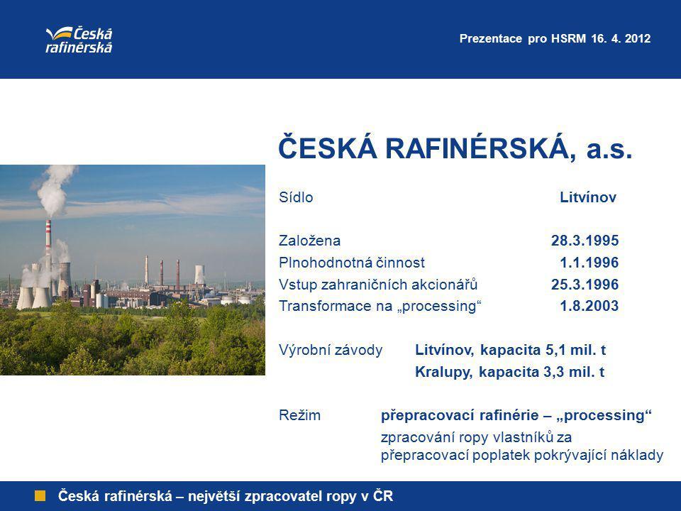 ČESKÁ RAFINÉRSKÁ, a.s. Prezentace pro HSRM 16. 4. 2012 Česká rafinérská – největší zpracovatel ropy v ČR Sídlo Litvínov Založena28.3.1995 Plnohodnotná