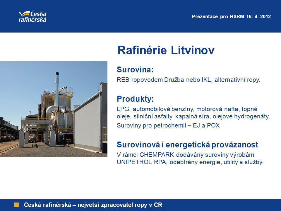 Rafinérie Litvínov Česká rafinérská – největší zpracovatel ropy v ČR Surovina: REB ropovodem Družba nebo IKL, alternativní ropy. Produkty: LPG, automo