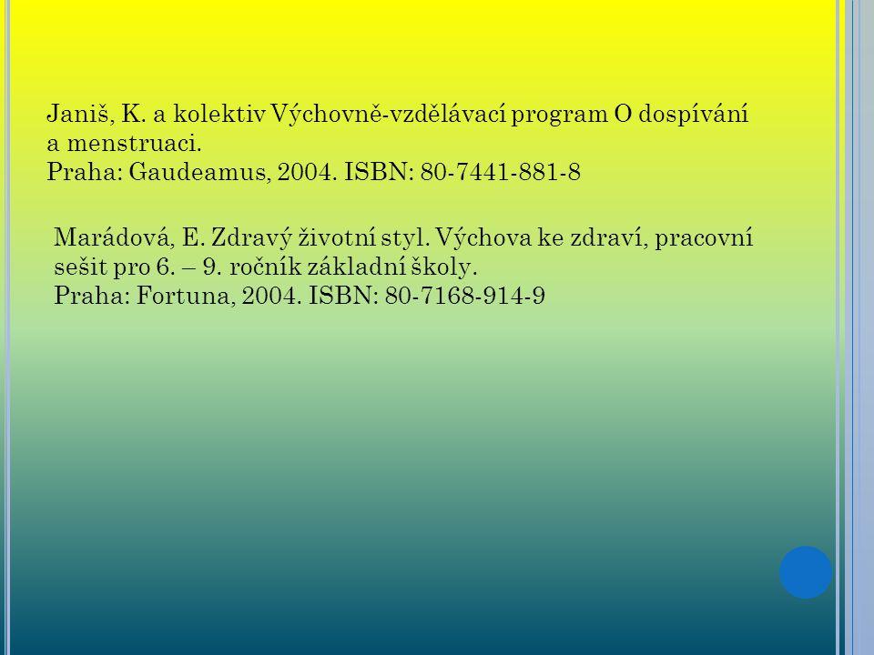 Janiš, K. a kolektiv Výchovně-vzdělávací program O dospívání a menstruaci. Praha: Gaudeamus, 2004. ISBN: 80-7441-881-8 Marádová, E. Zdravý životní sty