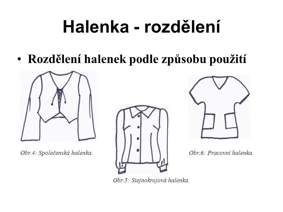 Halenka - rozdělení Rozdělení halenek podle způsobu použití Obr.4: Společenská halenka.
