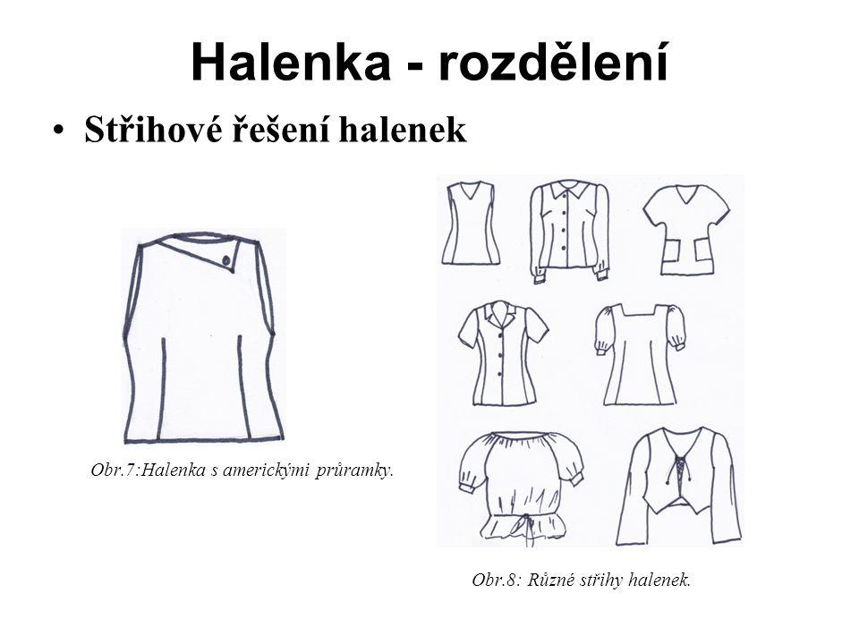 Halenka - rozdělení Střihové řešení halenek Obr.7:Halenka s americkými průramky.