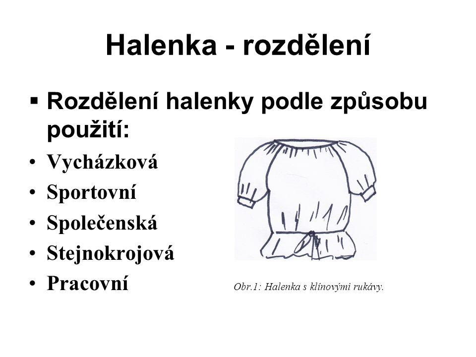 Halenka - rozdělení  Rozdělení halenky podle způsobu použití: Vycházková Sportovní Společenská Stejnokrojová Pracovní Obr.1: Halenka s klínovými rukávy.