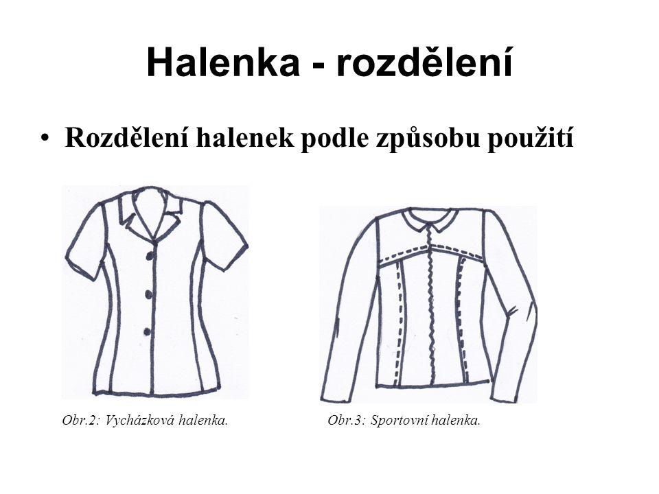 Halenka - rozdělení Rozdělení halenek podle způsobu použití Obr.2: Vycházková halenka.