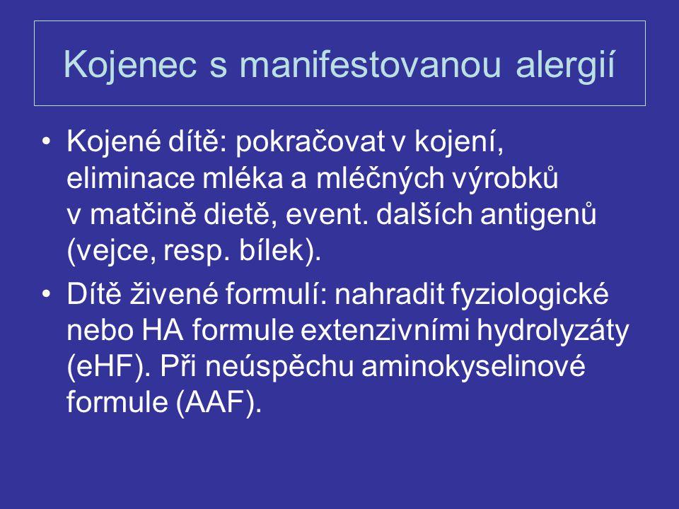 Kojenec s manifestovanou alergií Kojené dítě: pokračovat v kojení, eliminace mléka a mléčných výrobků v matčině dietě, event. dalších antigenů (vejce,