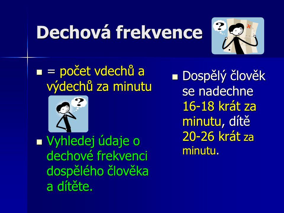 Dechová frekvence = počet vdechů a výdechů za minutu = počet vdechů a výdechů za minutu Vyhledej údaje o dechové frekvenci dospělého člověka a dítěte.