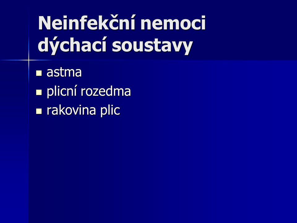 Neinfekční nemoci dýchací soustavy astma astma plicní rozedma plicní rozedma rakovina plic rakovina plic