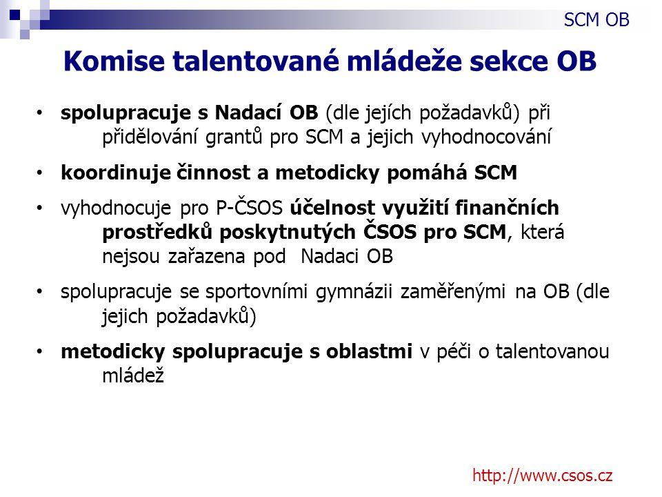 http://www.csos.cz spolupracuje s Nadací OB (dle jejích požadavků) při přidělování grantů pro SCM a jejich vyhodnocování koordinuje činnost a metodicky pomáhá SCM vyhodnocuje pro P-ČSOS účelnost využití finančních prostředků poskytnutých ČSOS pro SCM, která nejsou zařazena pod Nadaci OB spolupracuje se sportovními gymnázii zaměřenými na OB (dle jejich požadavků) metodicky spolupracuje s oblastmi v péči o talentovanou mládež SCM OB Komise talentované mládeže sekce OB