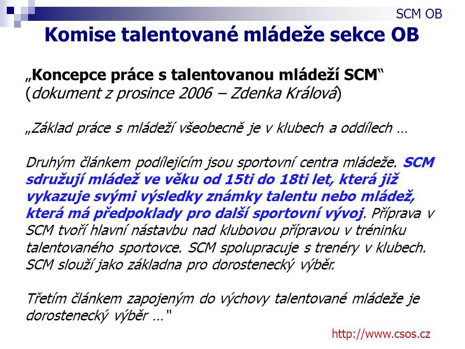 """http://www.csos.cz """"Koncepce práce s talentovanou mládeží SCM (dokument z prosince 2006 – Zdenka Králová) """"Základ práce s mládeží všeobecně je v klubech a oddílech … Druhým článkem podílejícím jsou sportovní centra mládeže."""