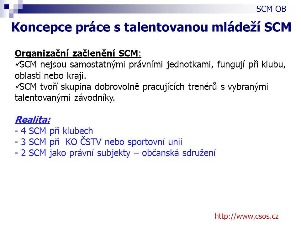 http://www.csos.cz Organizační začlenění SCM: SCM nejsou samostatnými právními jednotkami, fungují při klubu, oblasti nebo kraji.